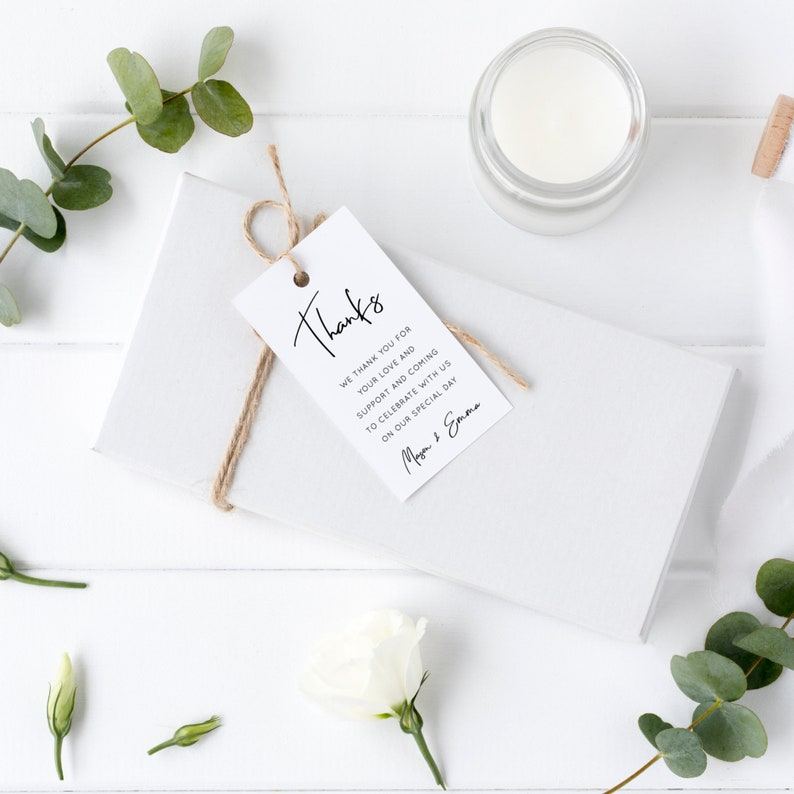Lillie  Wedding Favor Tag Template Simple Modern Wedding image 0