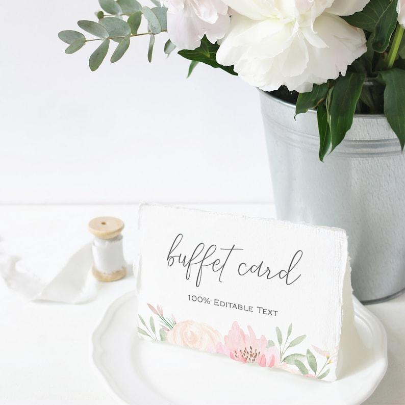 Alena  Buffet Card Template Blush Floral Wedding Food Label image 0