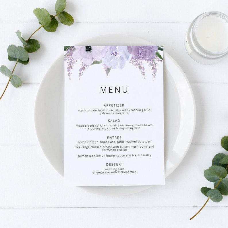 Lillian  Wedding Menu Template Floral Lavender Wedding Menu image 0