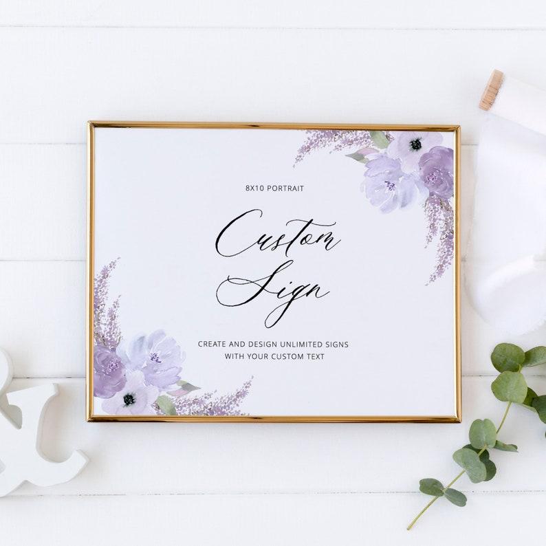 Lillian  Custom Wedding Sign Template Floral Lavender image 0