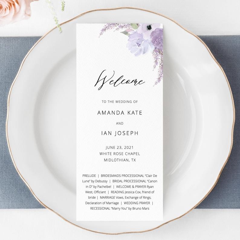 Lillian  Wedding Program Template Elegant Lavender Wedding image 0