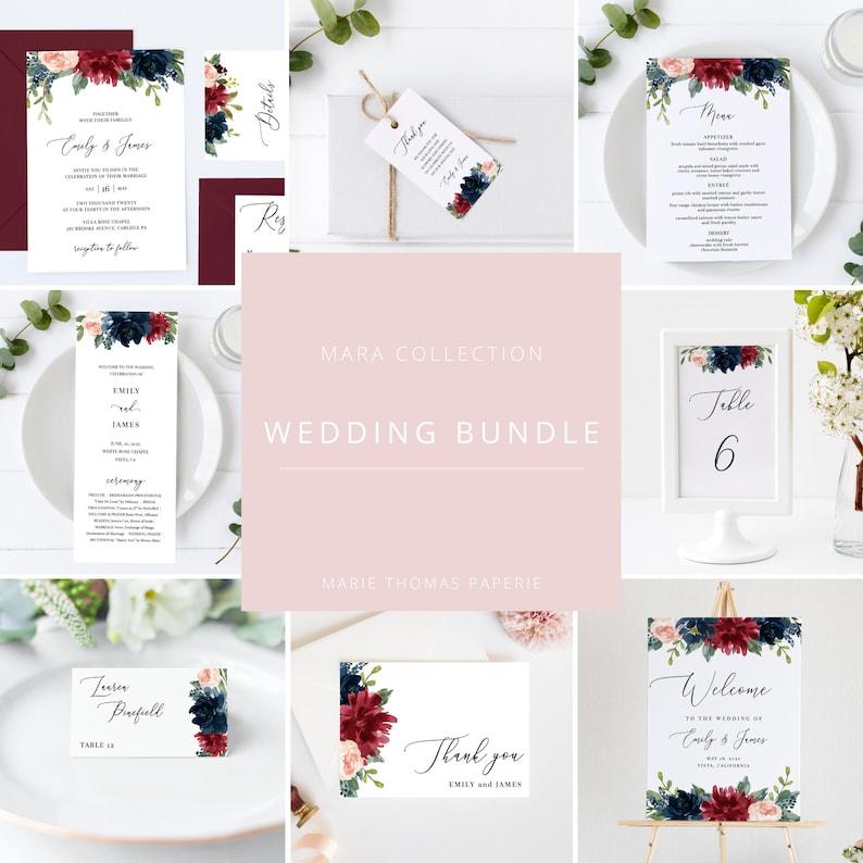 Mara  Burgundy Floral Wedding Template Bundle Wedding image 0