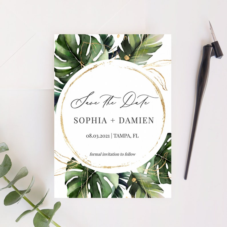 Tropical Save the Date Template Monstera Palm Leaves Save the image 0