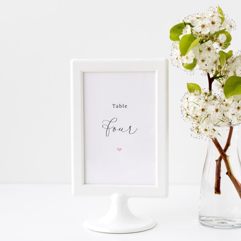 Lacie  Wedding Table Number Template Simple Script Table image 0