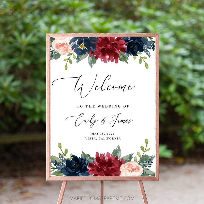 Wedding Welcome Sign Welcome to our Wedding Sign Burgundy & image 0