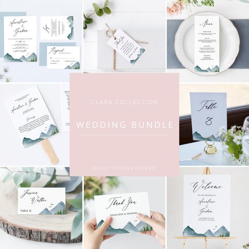 Clara  Mountain Wedding Template Bundle Rustic Pine Wedding image 0