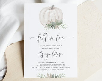 Whitley - Bridal Shower Invitation Template, Sage Green and White Pumpkin, Fall Bridal Shower Invite, Instant Download, Fully Editable