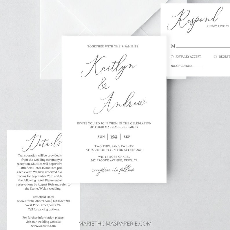 Wedding Invitation Template Elegant Editable Set RSVP Details Card 108 12WI