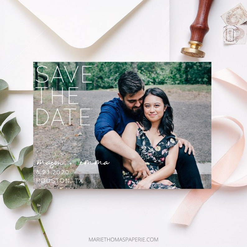 Modern Save the Date Template with Photo Save the Date Cards image 0