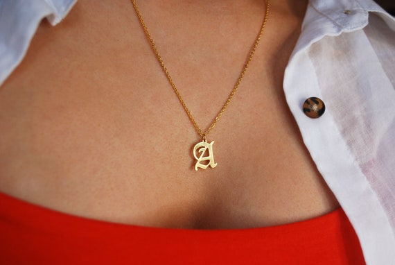Gold Initial Necklace / Silver Old English Initial Necklace / Old English Letter Necklace / Personalised Gift / Gothic Initial by Etsy