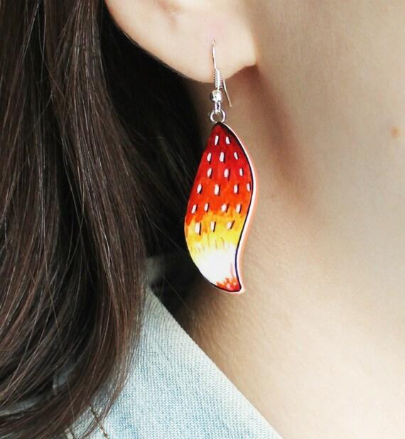 two part stud cute Fox Earrings jewelry fake gauge dangly tails