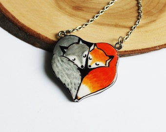 Wolf and Fox Friendship necklace, Wolf totem pendant, Boho wolf necklace, Fox pendant gift for friend, Mori girl necklace, Fox and Wolf love