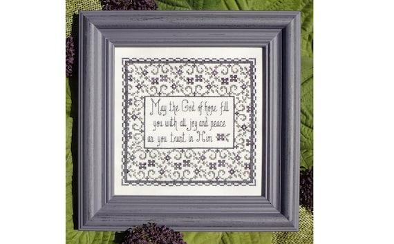 Counted Cross Stitch Pattern Bible Passage Free US Shipping Romans 15:13