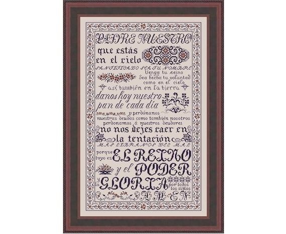 Padre Nuestro The Lord/'s Prayer Matthew 6:9-15 Cross Stitch Pattern My Big Toe Designs