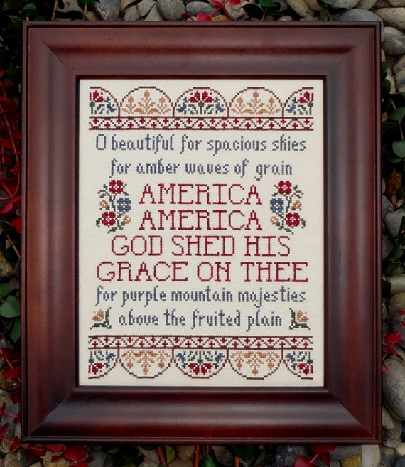 America the Beautiful Patriotic Hymn Cross Stitch Pattern My Big Toe Designs