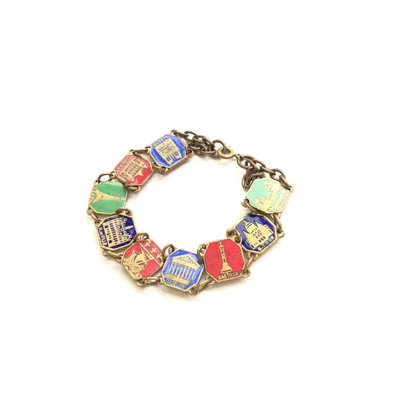 Vintage '30s Paris souvenir brass bracelet