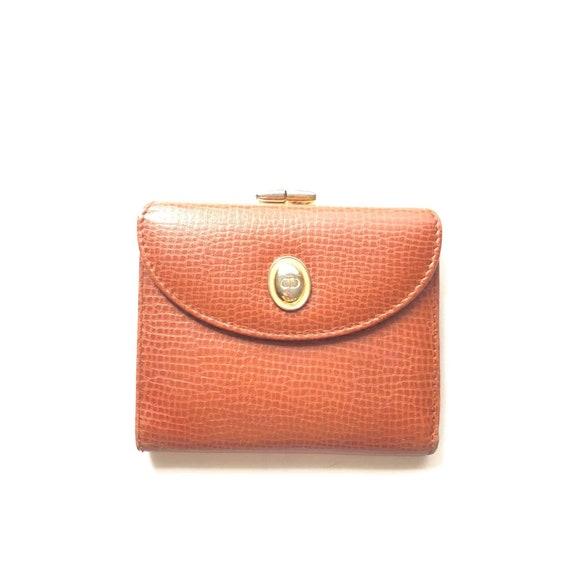 Vintage Christian DIOR Cognac Leather Wallet
