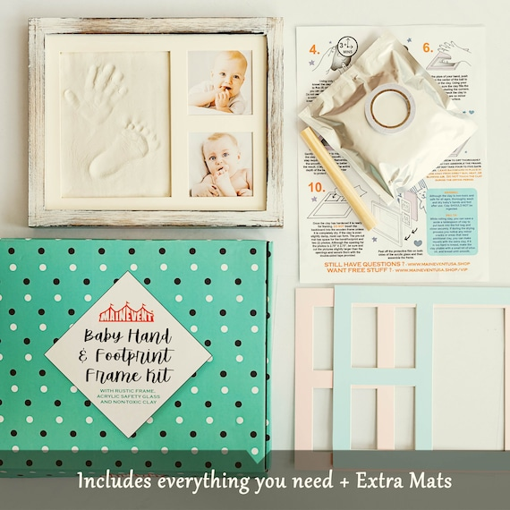a Baby Registry Must H... Baby Hand and Footprint Kit in Rustic Farmhouse Frame