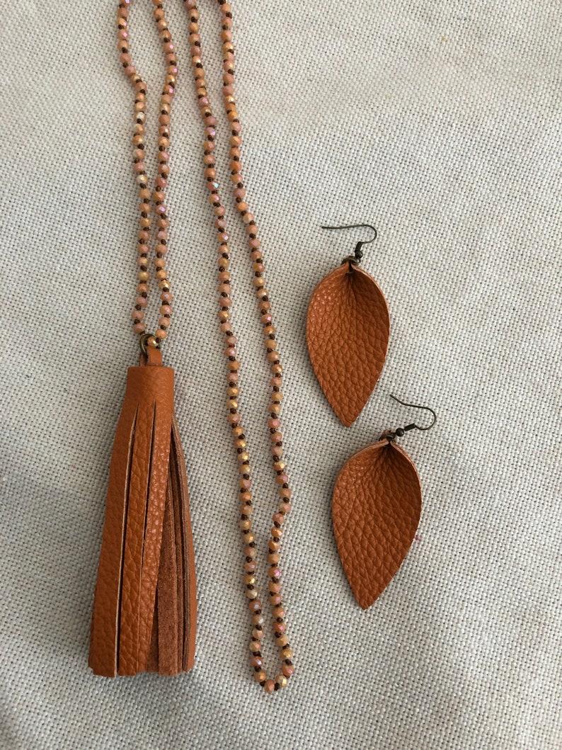 leather petal earrings Leather tassel necklace handmade tassel necklace burnt orange leather earrings orange tassel jewelry
