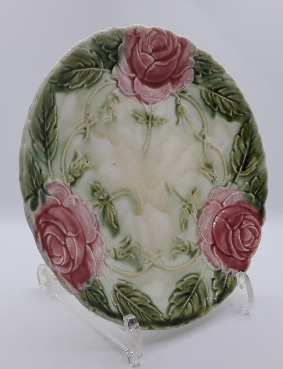 Antique Oyster Plate 6 Well French Porcelain W//pink Peonies
