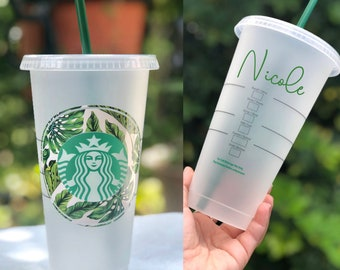 f41c14350b4 Personalized Starbucks Reusable Ice Coffee Cups, 24oz Cup, Travel Cup,  Custom Starbucks Cup, Bridesmaid Gift, Leaf Patter, Tropical Cup