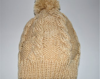 4ed3d010fb2 Beige Cable Knit Beanie