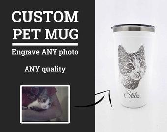 Custom Pet Photo Tumbler 16oz, Custom Cat Tumbler, Laser Engraved Photo Mug, Cat Dad Coffee Mug, Pet Photo Mug • P160PH