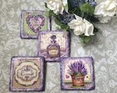 Handmade slate coasters, decoupage, pack of 4