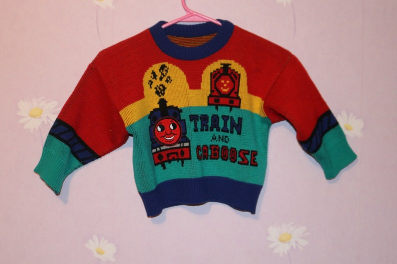 Retro Boys Thomas The Train Picture Knit  Pullover Sweater