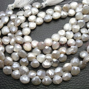 Mystic Coated Grey Moonstone BeadsMystic Coated Natural Grey Moonstone Smooth Twisted Diamond Shape Briolettes12-16 MM13 InchesSI-688
