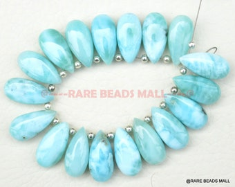401 Carats,8 Inch Strand,Natural Larimar Faceted Drops Briolettes,11-18mm size