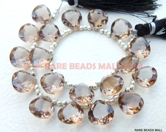 Smoky Quartz Heart BeadsSmoky Quartz Faceted Cut Heart Shape BriolettesSmoky Quartz Gemstone Briolettes4 Matched PairsGMS-SM1