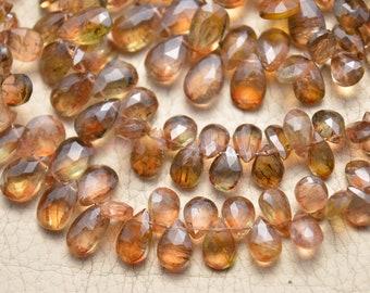 4x4-6x7 mm Mandarin Garnet Pear Briolettes Set of 55 Faceted