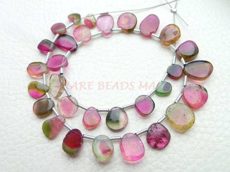 Watermelon Tourmaline Slices BeadsNatural Watermelon Tourmaline Smooth Rough Slice BeadsTourmaline Gemstone Beads5.5-10.5MM30 PcsSI-956