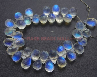 Rainbow Moonstone Drop Beads/Natural Rainbow Moonstone Faceted Tear Drop Briolettes/Rainbow Moonstone Briolettes/6.5-8 MM/4 Inches/SI-2498
