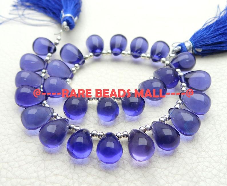 Blue Quartz Drop BeadsBlue Quartz Smooth Teardrop BriolettesQuartz Gemstone Briolettes14x10 MM5 Matched PairsGMS-LB1