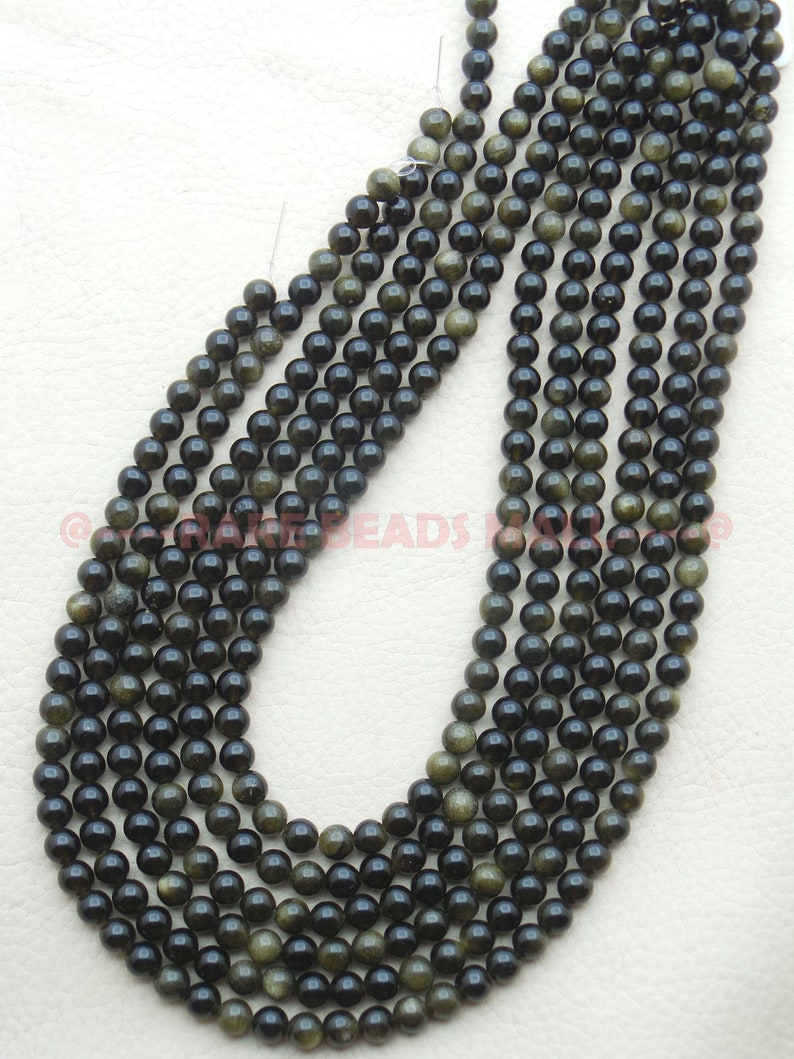 Golden Obsidian RoundsNatural Golden Obsidian Smooth Round Ball BeadsGolden Obsidian Gemstone Rondelle Beads6 MM13 InchesSI-UDI01