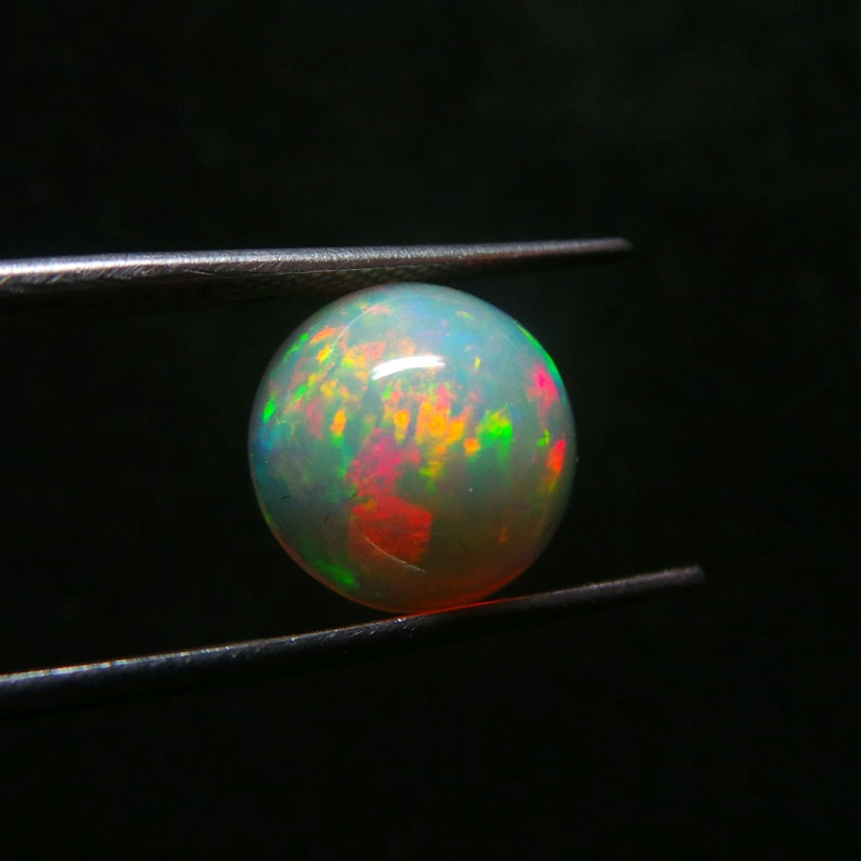Ethiopian Opal CabochonNatural Ethiopian Opal Smooth Round CabochonFire Opal CabochonOpal Gemstones CabStrong Flashy Color11 MMSI-526