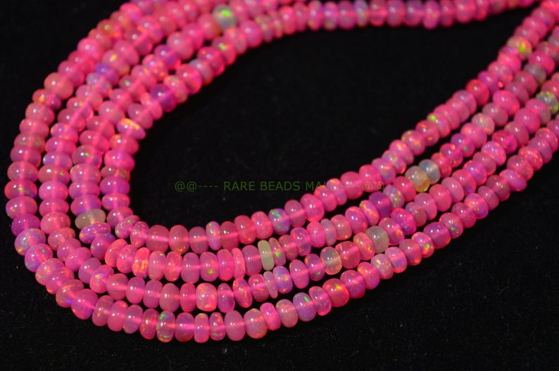 Pink Ethiopian Opal BeadsNatural Pink Ethiopian Opal Smooth Rondelle BeadsFire Opal BeadsOpal BeadsGood Color Play4-5MM16 InchSI-1555