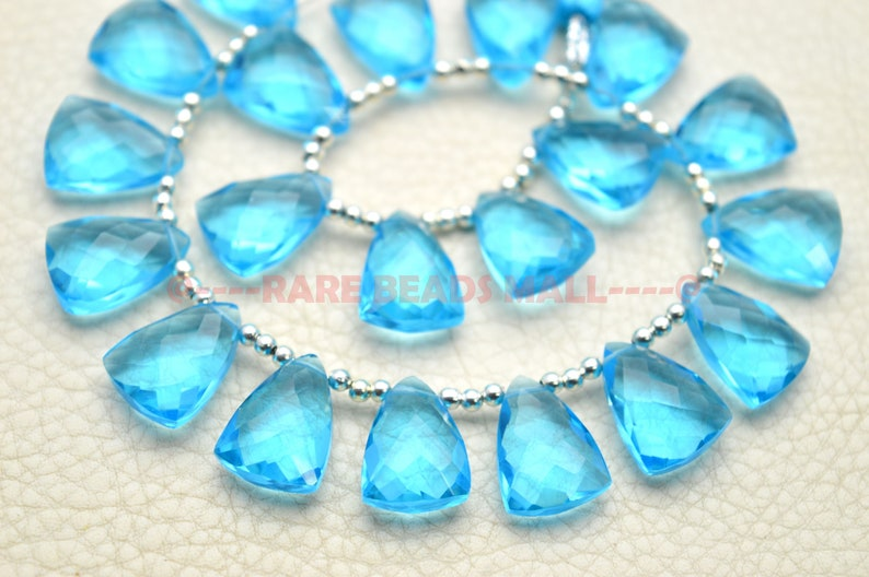 Swiss Blue Quartz Pyramid BeadsSwiss Blue Quartz Faceted Pyramid BriolettesSwiss Blue Quartz Gemstone Briolettes5 Matched PairsGMS-SW1