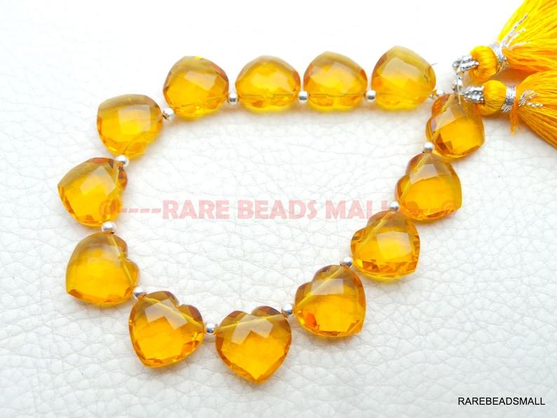 Citrine Quartz Heart BeadsCitrine Quartz Faceted Heart BriolettesCitrine Quartz Gemstone BriolettesQuartz Beads4 Matched PairsGMS-CT1