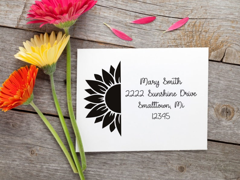Sunflower return address Personalized Rubber Stampcustom made stampstamp for envelopesscrapbookingbusiness product tags