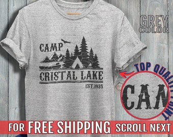 e384f421f Camp Crystal Lake Shirt Friday The 13th T-shirt Vintage Horror Movie Shirt  Camp Counselor Tshirt For Women Men Kids 80s Triblend fabric avl