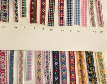 Embroidered Trims in a variety of patterns 2 yard cuts