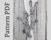 Bunny curtain tiebacks crochet PATTERN PDF