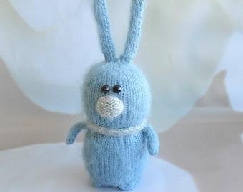 Green Bunny Hand-knitted Rabbit Amigurumi Toy Miniature Banny Dolls toys Handmade Easter softie hare Easter gift Knit bunny toys Easter toy