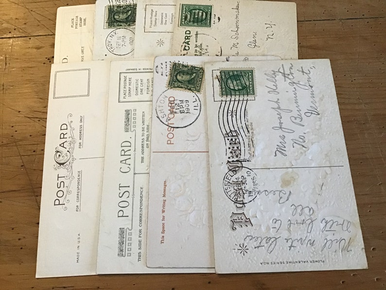 8 Antique valentine postcards..1909-1910..4 not used..embossed ..good condition