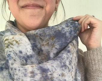 "OOAK Botanically Dyed Silk Scarf // Large, 31x31"""