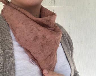 "OOAK Botanically Dyed Silk Scarf // Small 21x21"""