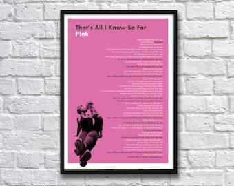 Pink - That's All I know So Far - Lyrics